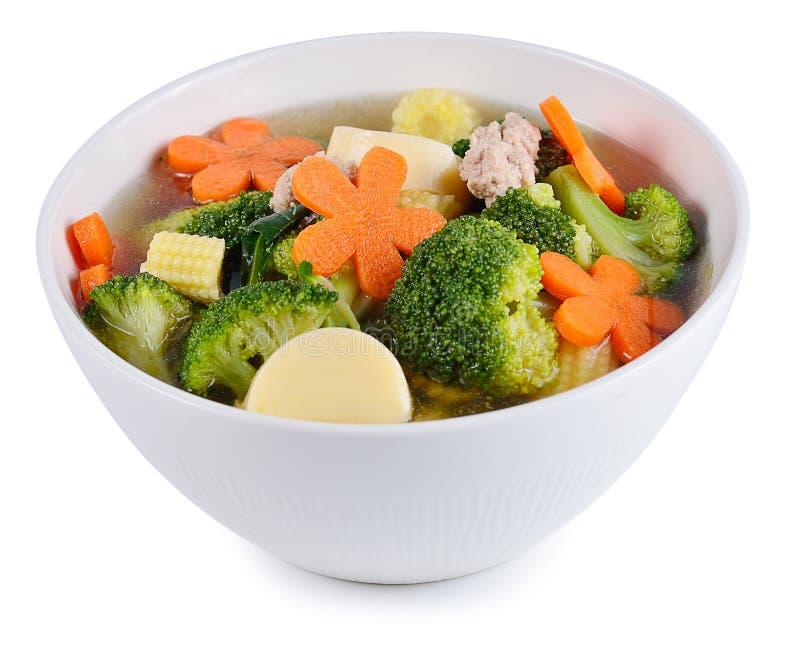 Thai healthy food boiled broccoli and pork. stock photo