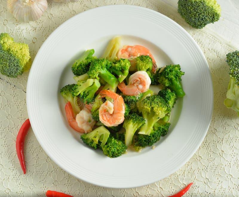 Thai healthy food stir-fried broccoli with shrimp royalty free stock image