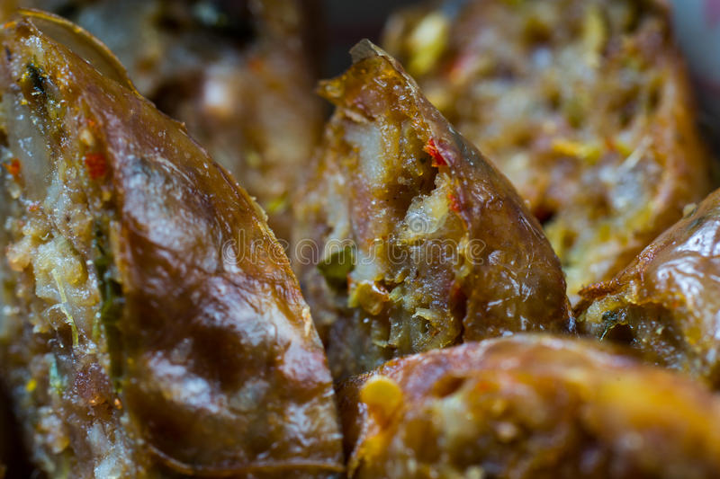 Thai herb sausage close up royalty free stock photography