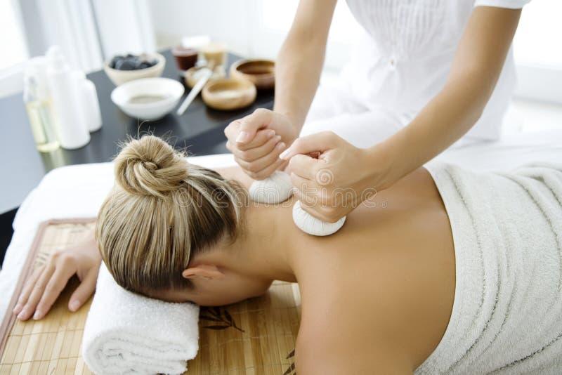 Thai herbal massage stock photography