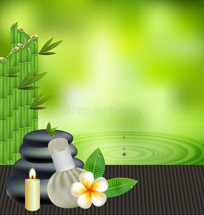 Thai herbs massage spa with compress herbs natural background. Thai herbs massage spa with compress herbs natural background vector illustration