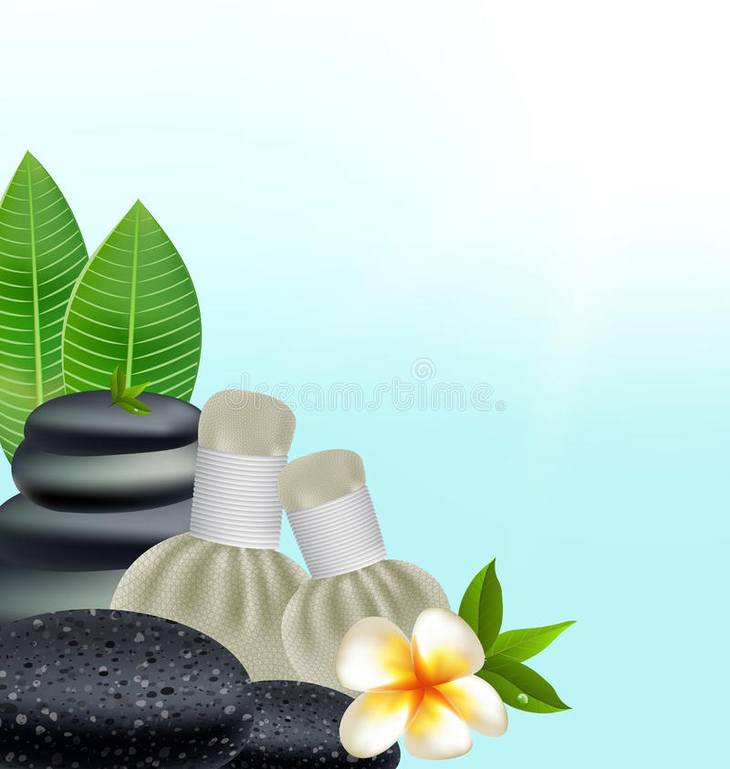 Thai herbs massage spa with compress herbs natural background.  stock illustration