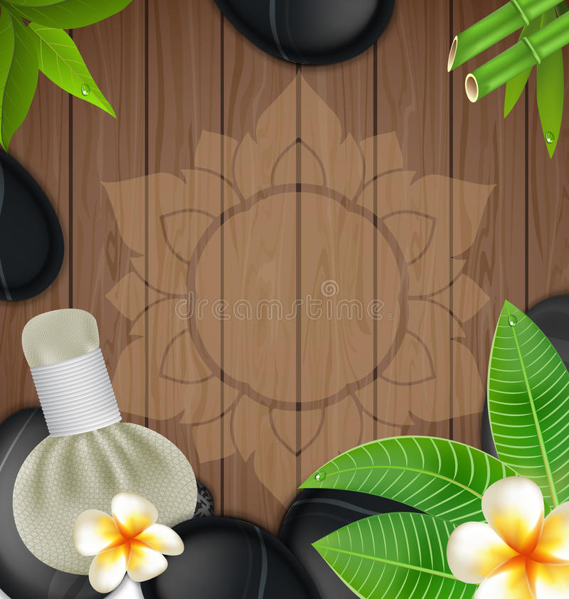 Thai herbs massage spa with compress herbs wood background.  stock illustration