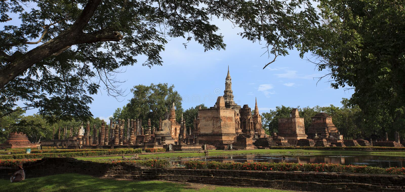 Thai historical park. The Buddha in Sukhothai historical park, take photo from Thailand royalty free stock photo