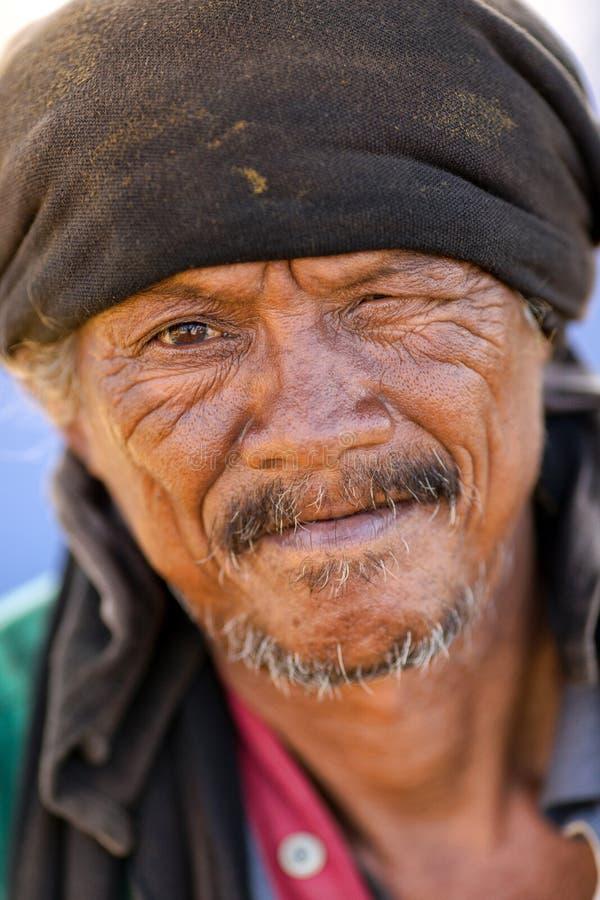 Thai homeless man portrait royalty free stock photography