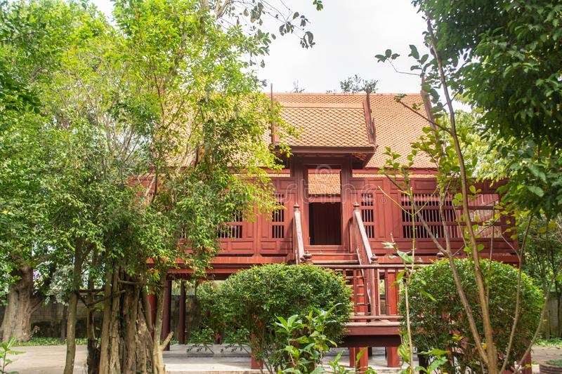 Thai house built from wood is popular for Thai people both past and present royalty free stock photography