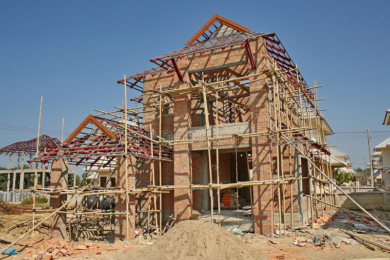 Thai House Under Construction Royalty Free Stock Image