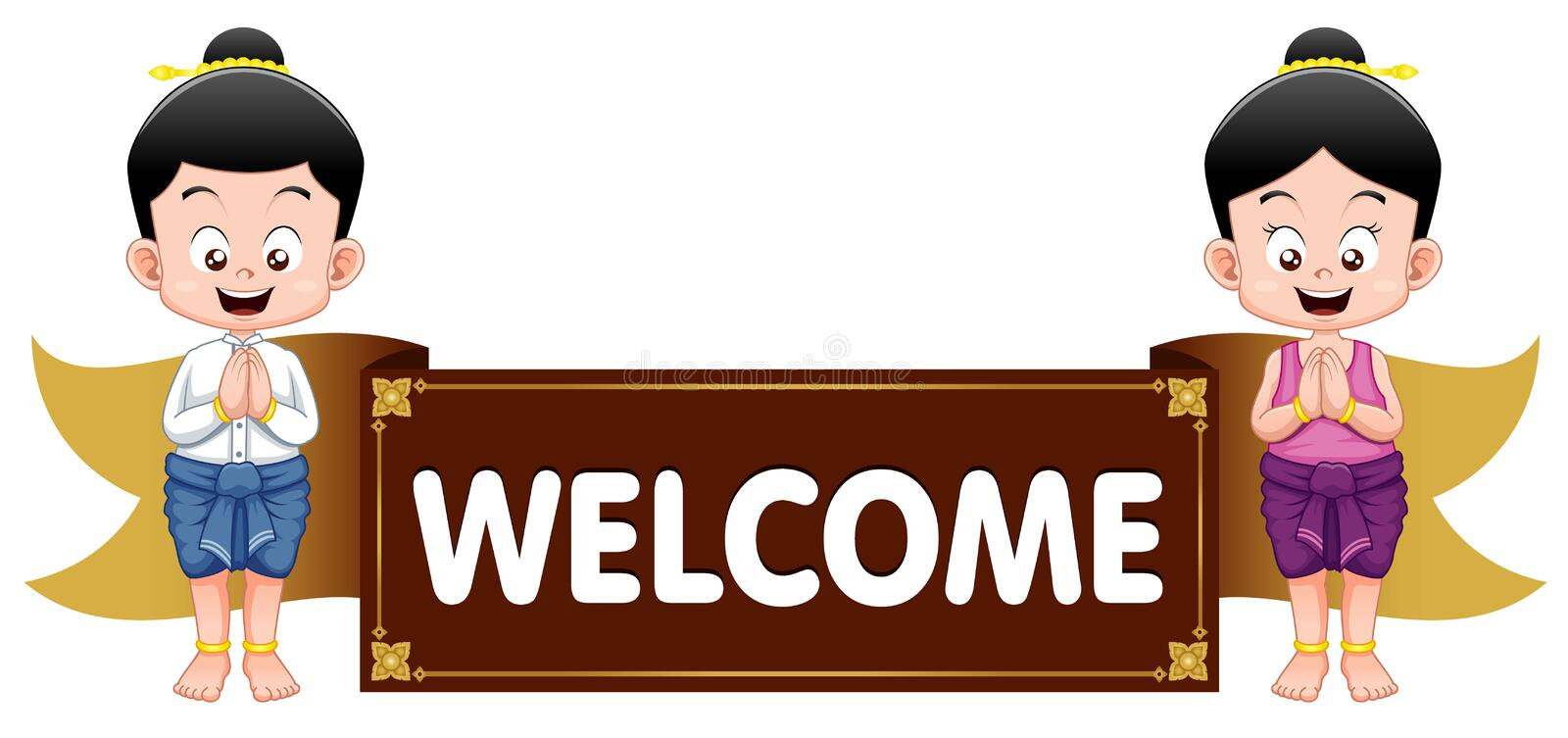 Thai kids with welcome sign vector illustration