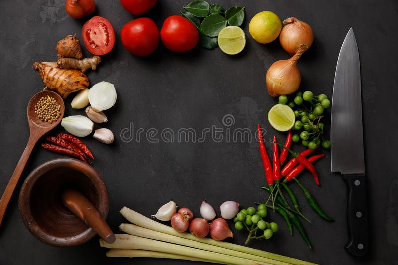 Thai kitchen. Various herbs, spices  and Ingredients on dark background. Top view with copy space royalty free stock photos