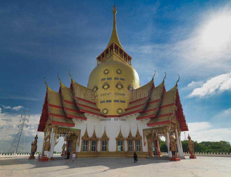 Golden Pagoda at Wat Pong Agas, Chachoengsao, Thailand. Thai Landmark temple Golden Pagoda at Wat Pho Yai, Chachoengsao, Thailand stock photos