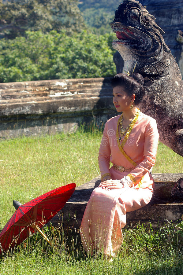 Thai lanna lady royalty free stock photo