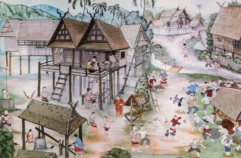 Thai Lanna mural painting of Thai people life in the past on temple wall in Chiang Mai, Thailand. Thai mural painting of Lanna people life in the past on temple royalty free stock photos