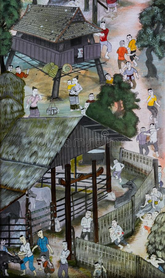 Thai Lanna mural painting of Thai people life in the past on temple wall in Chiang Mai, Thailand. Thai mural painting of Lanna people life in the past on temple royalty free stock images