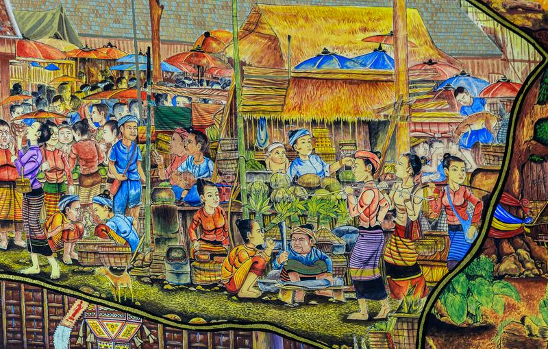 Thai Lanna mural painting of Thai people life in the past on temple wall in Chiang Mai, Thailand. Thai mural painting of Lanna people life in the past on temple stock photo