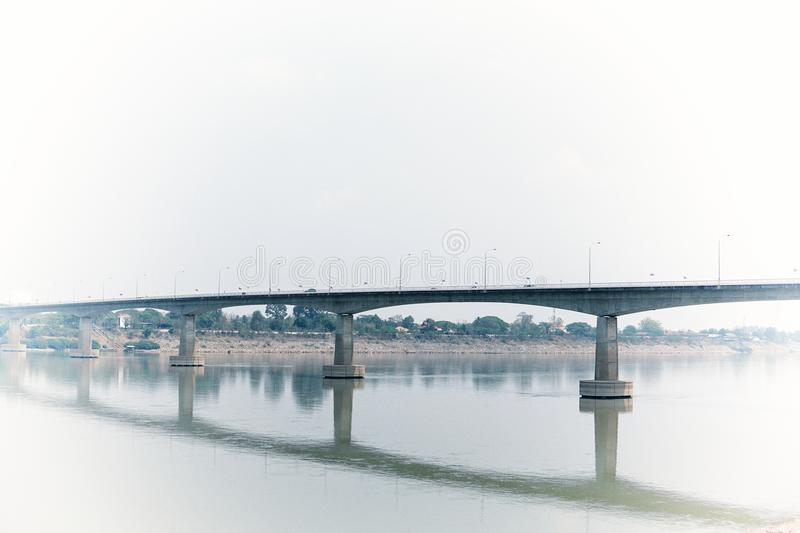 Thai-Laos friend ship bridge over Maekhong river in sunny day. royalty free stock photo