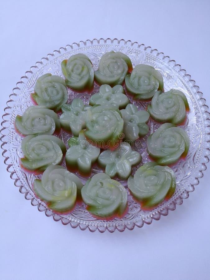 Thai layer dessert; Khanom chan. A plate of Thai layer dessert ; Khanom chan stock photo