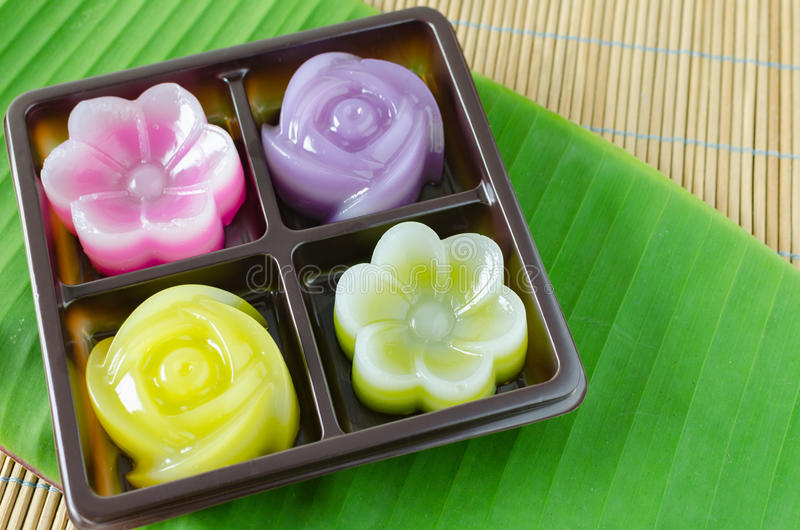 Thai Layer Sweet Cakes. Thai Sweet Food and Dessert Food, Freshly Homemade of Colorful Thai Layer Sweet Cakes in flower shape stock images