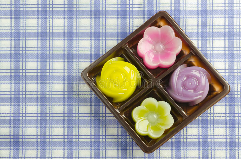 Thai Layer Sweet Cakes. Thai Sweet Food and Dessert Food, Freshly Homemade of Colorful Thai Layer Sweet Cakes in flower shape royalty free stock image