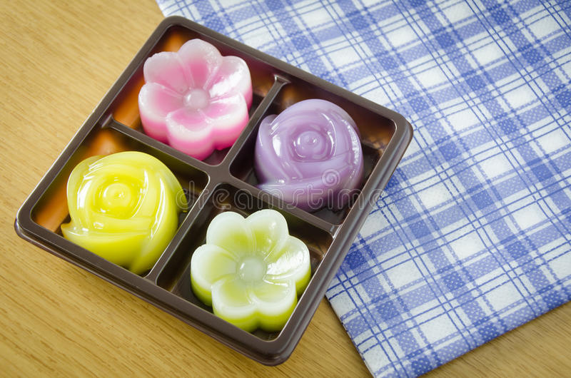 Thai Layer Sweet Cakes. Thai Sweet Food and Dessert Food, Freshly Homemade of Colorful Thai Layer Sweet Cakes in flower shape stock photography