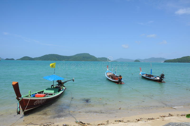 Thai Longtail boat on the sea stock images