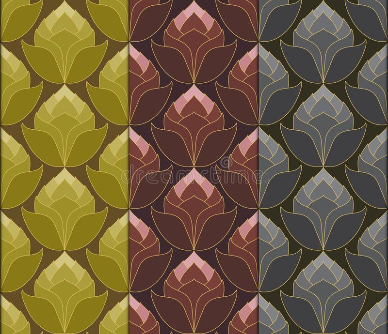 Thai lotus flowers seamless vintage pattern vector abstract back royalty free illustration