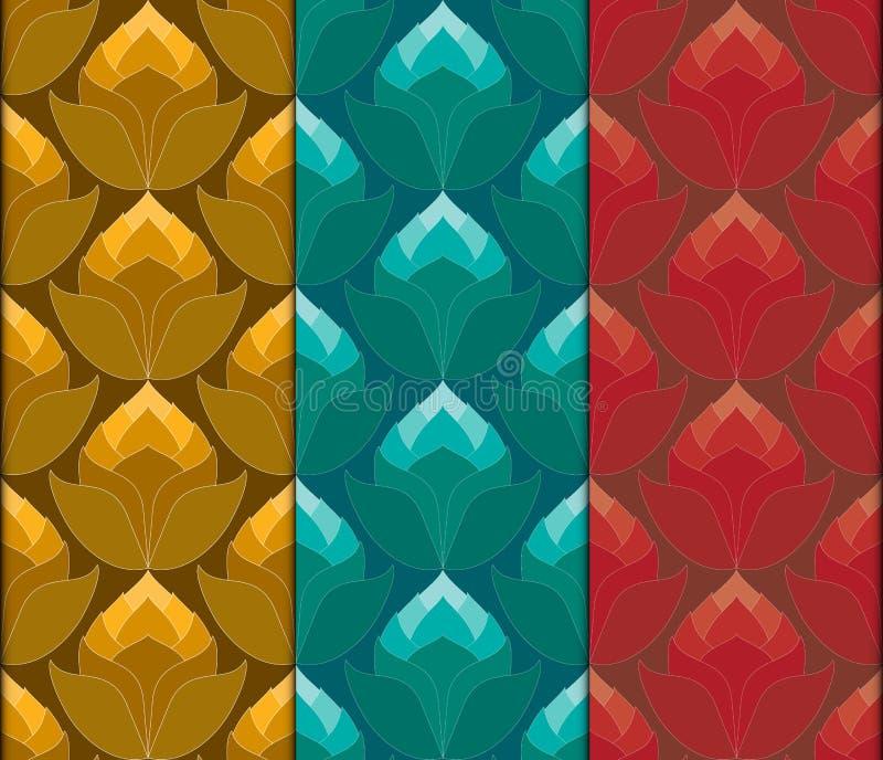 Thai lotus flowers seamless vintage pattern vector abstract back stock illustration