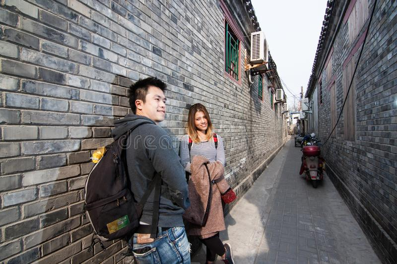 Thai lover traveler in Hutong royalty free stock photography