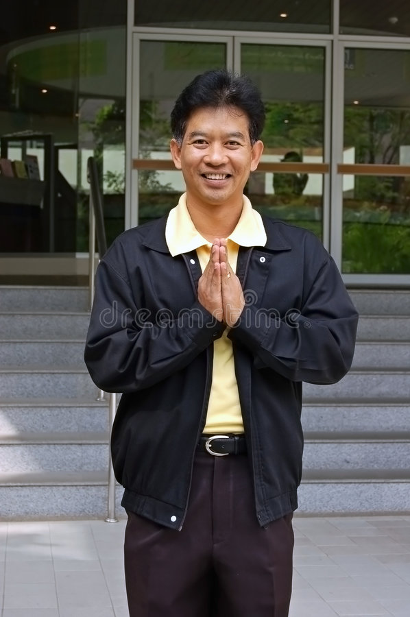 Download Thai man greeting stock photo. Image of welcome, meet - 1704696