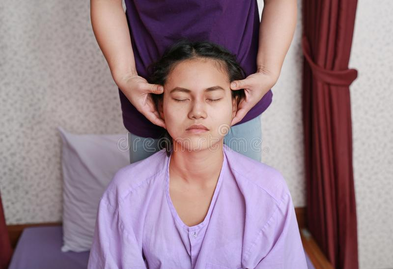 Famous Thai massage, Therapist action for customer. royalty free stock photos