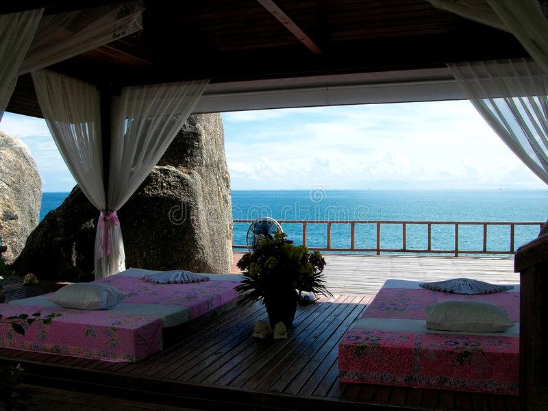 Thai Massage Area. Thai massage place surrounding by cliffs and ocean to aid relaxation