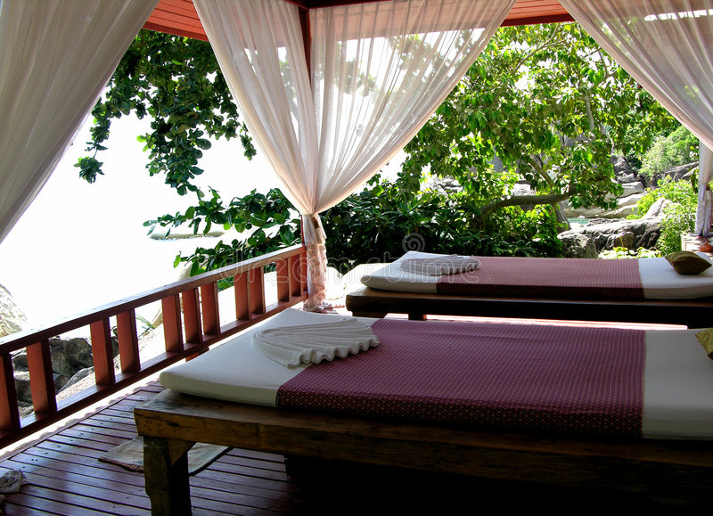 Thai Massage Area. Thai massage place surrounding by cliffs, vegetation and ocean to aid relaxation