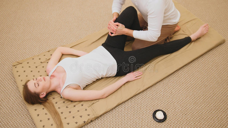 Thai massage - sensual model female - top view royalty free stock image