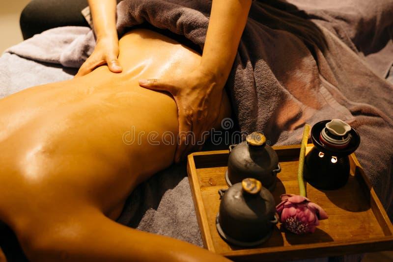 Thai Massage series. Thai back and neck massage stock photography