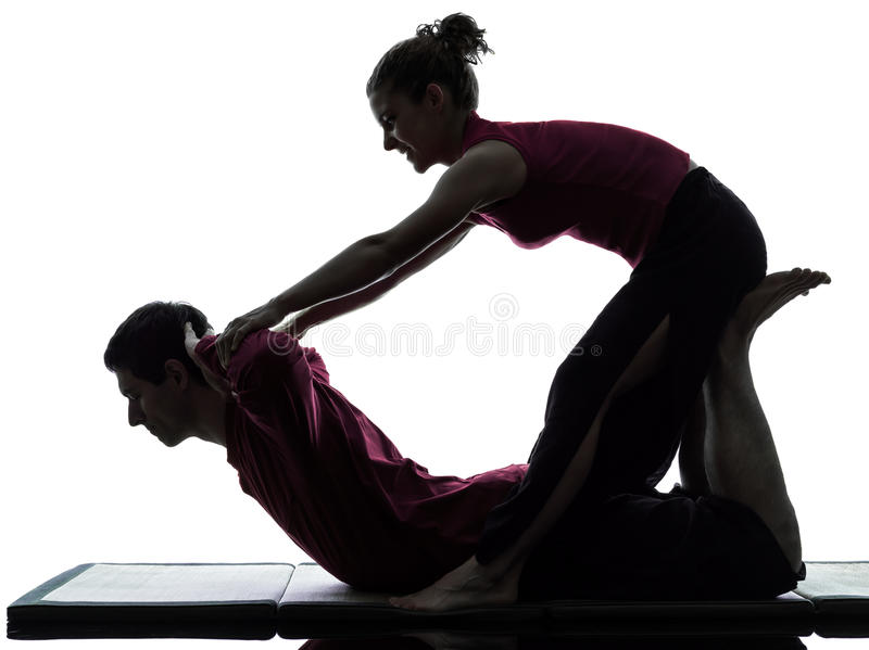 Download Thai massage silhouette stock photo. Image of care, studio - 26249612