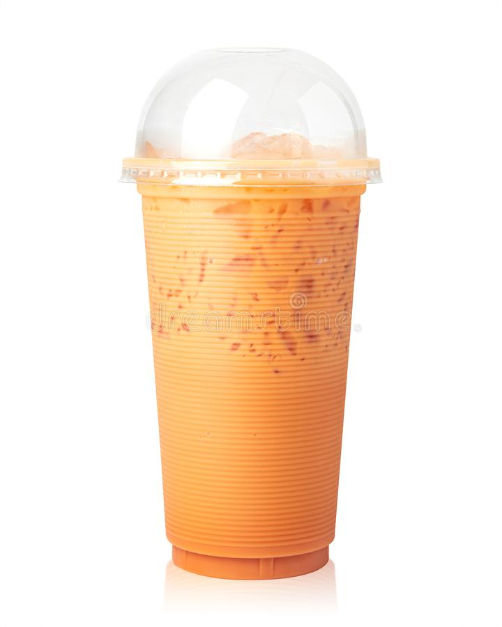 Thai Milk tea with cup isolated on white background. Thai tea in clear mug.  Clipping path royalty free stock images