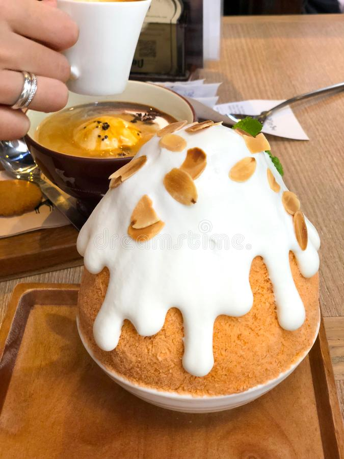 Thai Milk Tea shaved ice `Bingsu` stock images