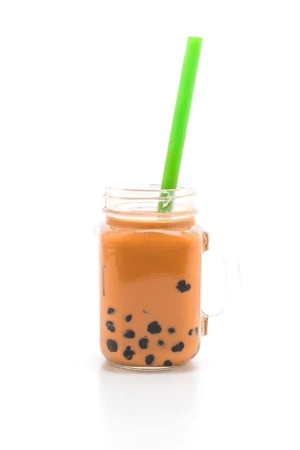 thai mjölka te med bubblan royaltyfria bilder
