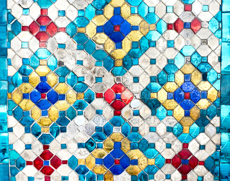 Thai mosaic colorful pattern texture background,made from glass.  royalty free stock photography