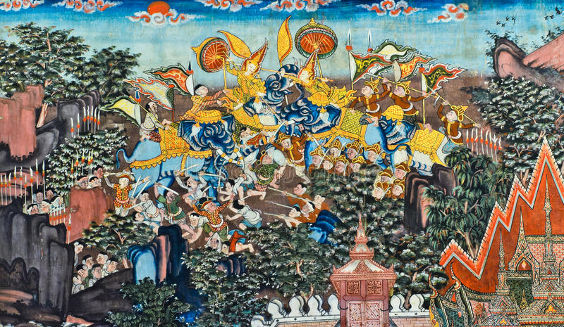 Download Thai mural stock image. Image of fight, color, battle - 26183295