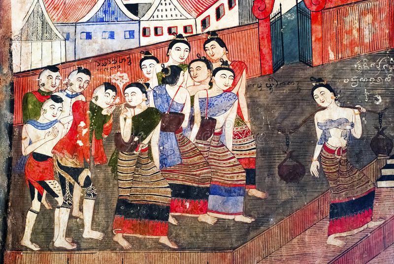 Thai Mural Painting Stock Image