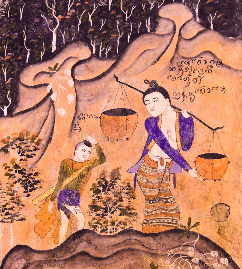 Download Thai mural painting stock photo. Image of decorate, style - 28561870