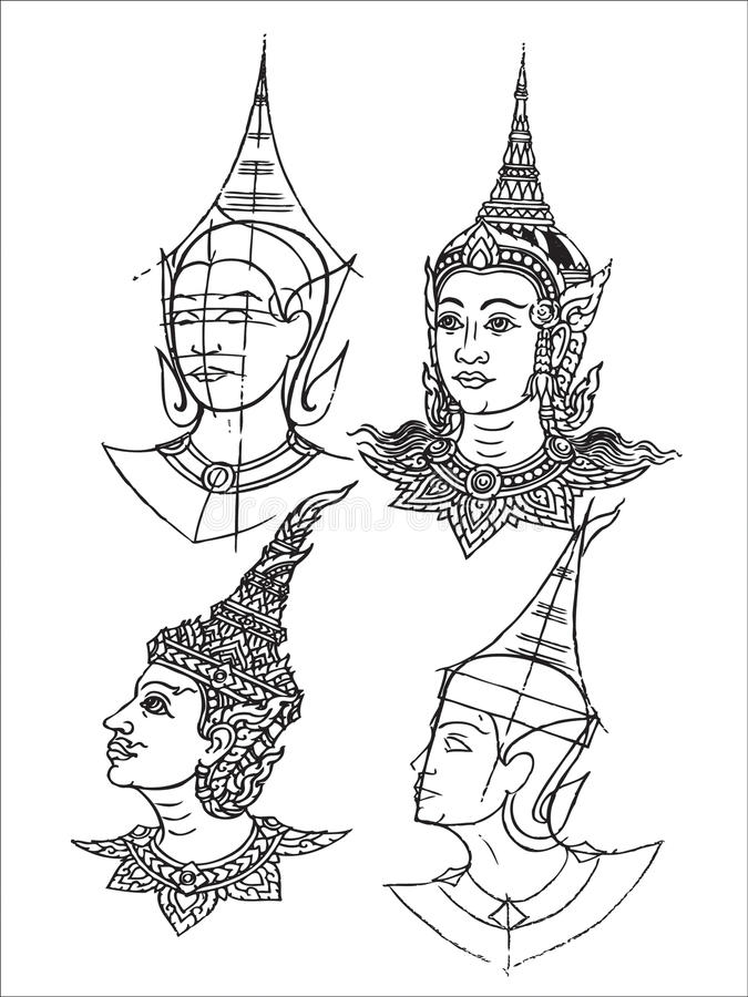 Thai Mural Temple Stock Image
