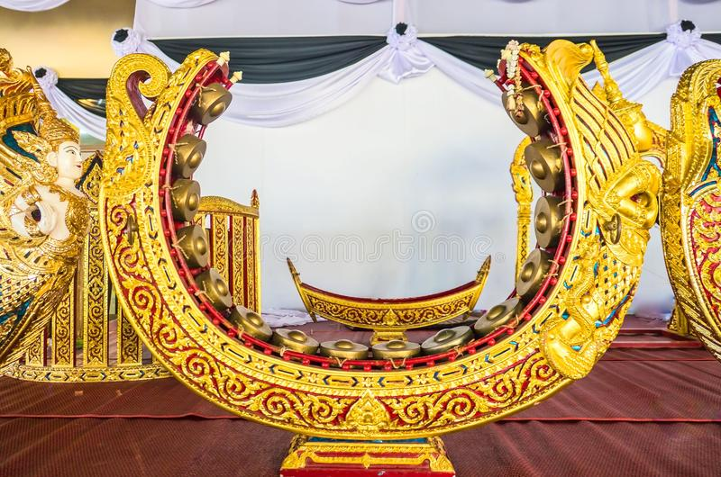 Thai musical instrument gold pattern beautiful . used to beat or knock a melody.  royalty free stock images
