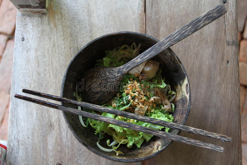 Thai noodle in dish made from coconut. It s one of favourite food in Thailand stock photography