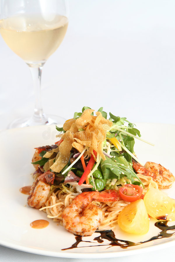 Thai noodle and prawn salad royalty free stock photo
