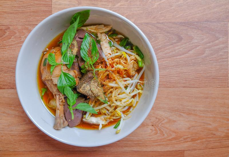 Noodle soup with chicken and vegetables. Thai noodle soup with chicken and vegetables stock photos
