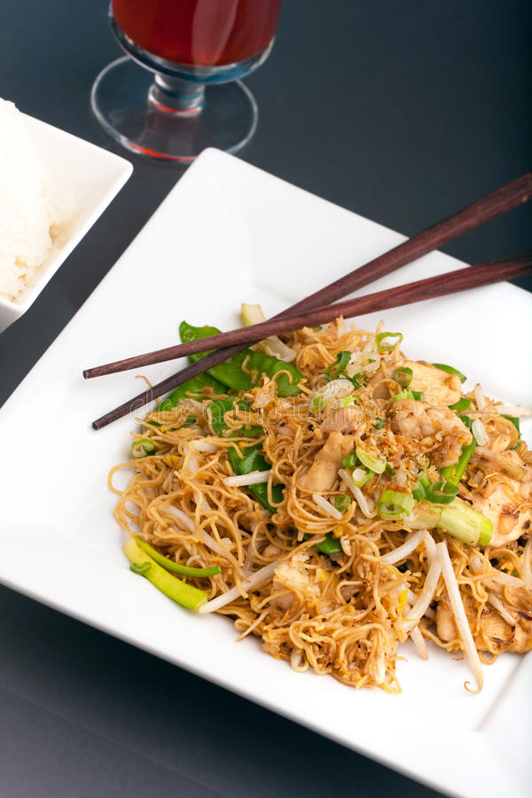 Thai Noodle Stir Fry with Chicken royalty free stock photography