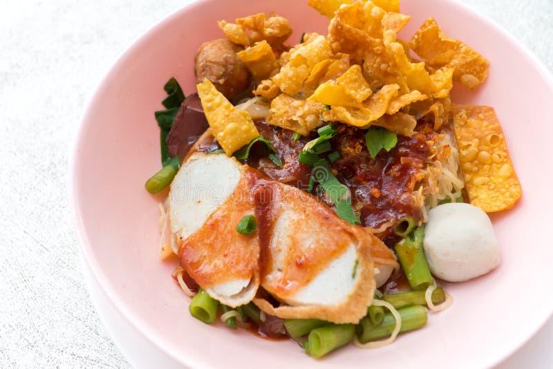Thai noodle, yong tau fu,. Traditional Thai noodle, yong tau fu, yen ta fo royalty free stock image