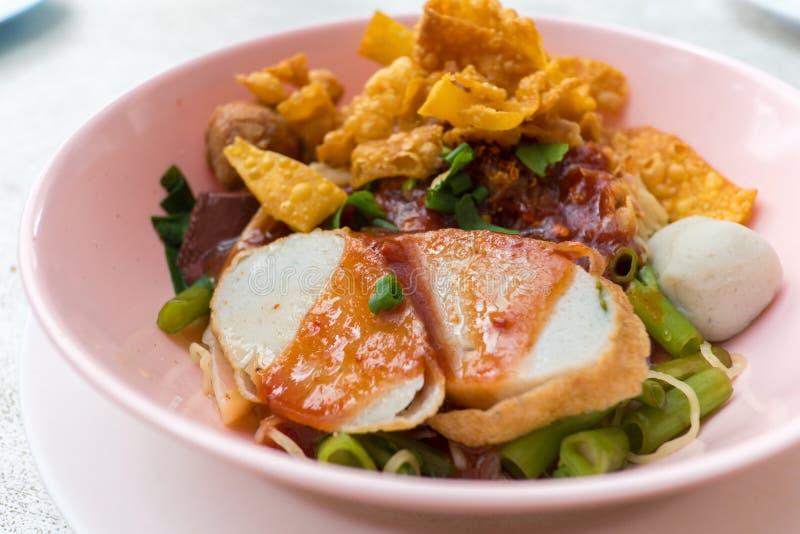 Thai noodle, yong tau fu,. Traditional Thai noodle, yong tau fu, yen ta fo royalty free stock photos