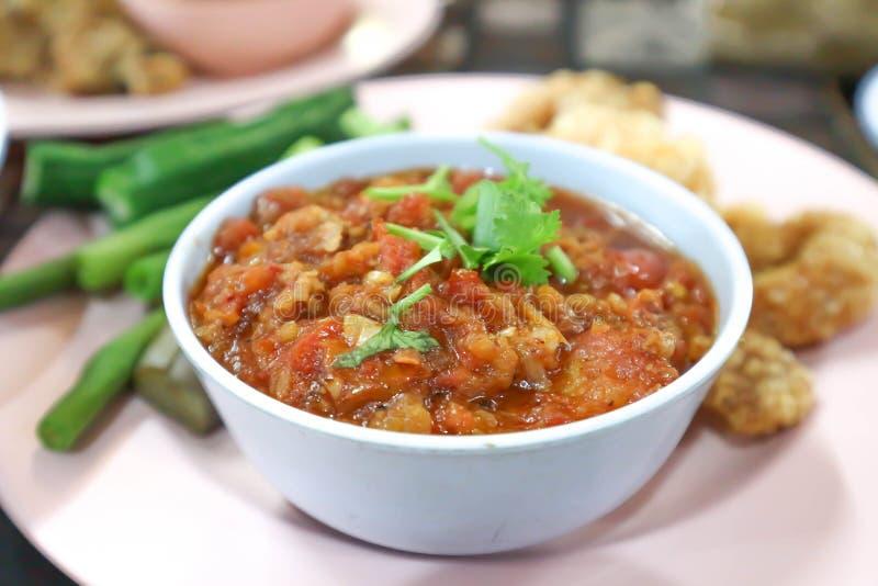 Thai Northern style pork and tomato relish, chili paste royalty free stock photos